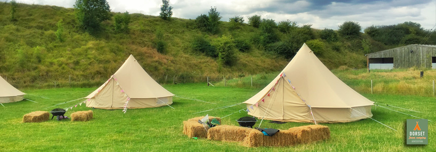 Some of our bell tents on our lovely farm