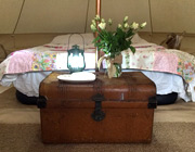Inside one of our beautiful Bell tents